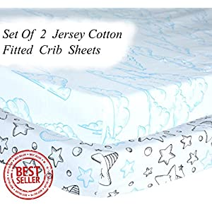 Fitted Crib Sheets 2 Pack – Soft and Gentle 100% Jersey Knit Cotton – Hypoallergenic Toddler Bedding for Boys and Girls – Fun and Adorable Unisex Designs Makes Perfect Baby Shower Gifts by Baby Steps