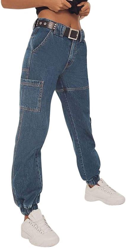 Deman Outfit Artistic9 Pantalones Vaqueros Ajustados Para Mujer Corte Holgado Para Entrenamiento Yoga Azul Medium Amazon Es Hogar