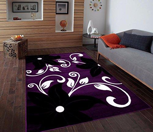 T1014 Purple Black White 7'10 x 10'2 Floral Oriental Area Rug Carpet (Purple Area Rugs 8x10)