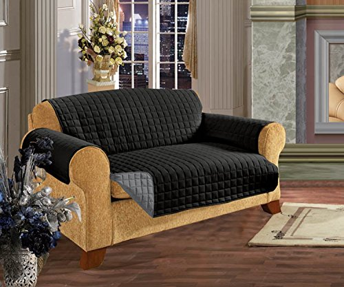 Elegant Comfort QUILTED REVERSIBLE FURNITURE PROTECTOR for Pet Dog Children Kids -2 TIES TO STOP SLIPPING OFF Treatment Microfiber As soft as Egyptian Cotton Black/Gray Sofa by Elegant Comfort