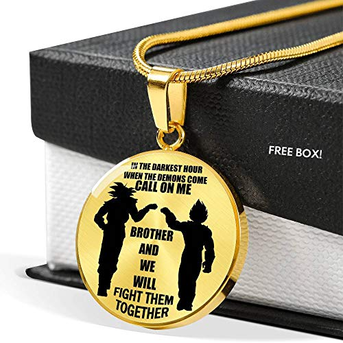 Call On Me Brother Personalized My Brother Necklace Chain - Dragon Ball Super Goku & Vegeta Pendant Chain, Friends Birthday Gifts Ideas for Men Boys