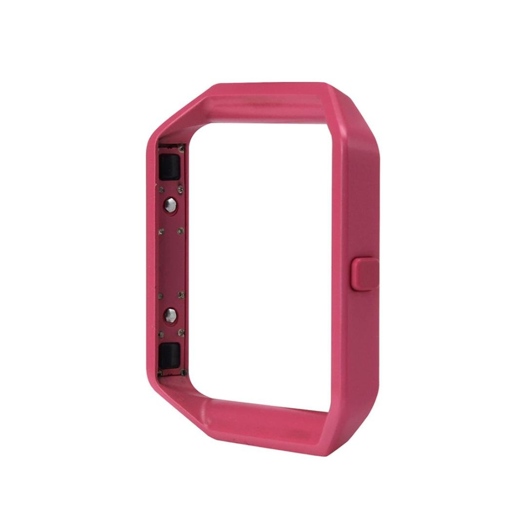 dreamyth LuxuryステンレススチールWatch交換メタルフレーム時計ホルダーfor Fitbit Blazeスマート時計 B075LL1Q6Fホットピンク