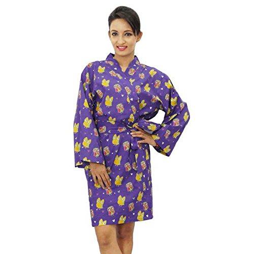 Algodón dama de abrigo corto Impreso azul Crossover Batas abrigo del balneario Púrpura y amarillo