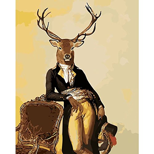 Tonzom Wooden Framed Paint By Number Kits Diy Canvas Oil Painting for Kids, Students, Adults Beginner – Deer Gentleman 16x20 inch with Brushes and Acrylic - Paint Deer