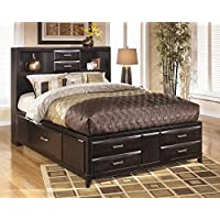 Kira B473-66/69/99 King Size Storage Bed with 2 Open Headboard Compartments 4 Footboard Drawers and 2 Side Drawers in an Almost Black Color
