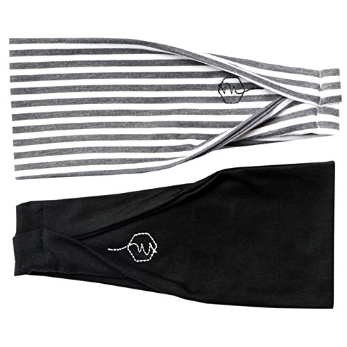 Maven Thread Women's Headband Yoga Running Exercise Sports Workout Athletic Gym Wide Sweat Wicking Stretchy No Slip 2 Pack Set Black White Grey Neutral Urban