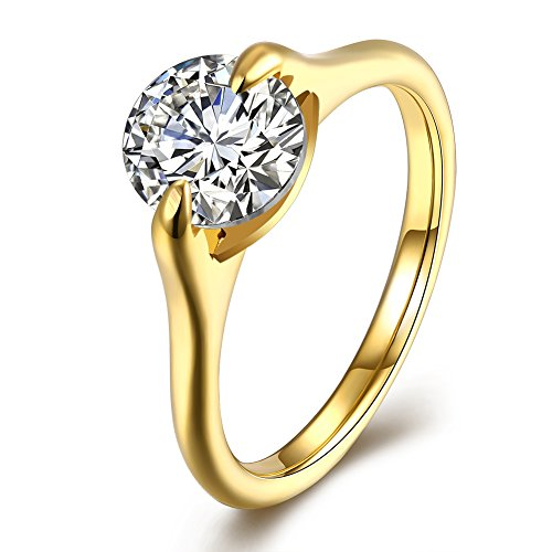(18K Gold Plated Women's Wedding Band Ring 5A CZ Engagement Anniversary Promise Bands Rings Size 6-9)