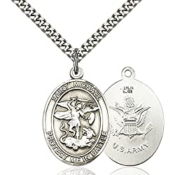 Sterling Silver St. Michael Pendant 1 X 1 14 Inches With Heavy Curb Chain