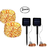 YBWM Solar String Lights,2 Pack 100 LEDs 40FT 8 Modes Copper Wire Lights,Decorative String Lights, for Outdoor, Gardens, Party, Home, Christmas, and Other Holiday(Warm White)