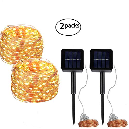 YBWM Solar String Lights,2 Pack 100 LEDs 40FT 8 Modes Copper Wire Lights,Decorative String Lights, for Outdoor, Gardens, Party, Home, Christmas, and Other Holiday(Warm White) by YBWM