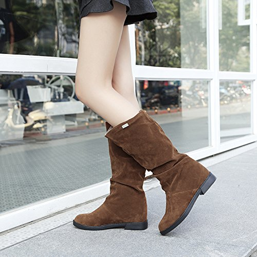 KHSKX-Autumn Winter Korean Plate Sleeve Short Boots Suede Boots Flat Heel Raised Barrel Boots Slope With The Bottom Of The Bottom Of The Tube Thirty-six SKHcfAn357