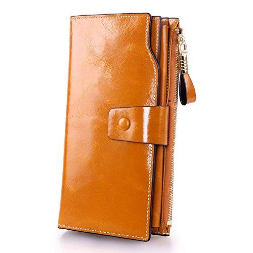 Sheepskin Long Wallet (FBLUE Women's Large Capacity Luxury Wax Genuine Leather Clutch Wallet FB6007(Khaki))