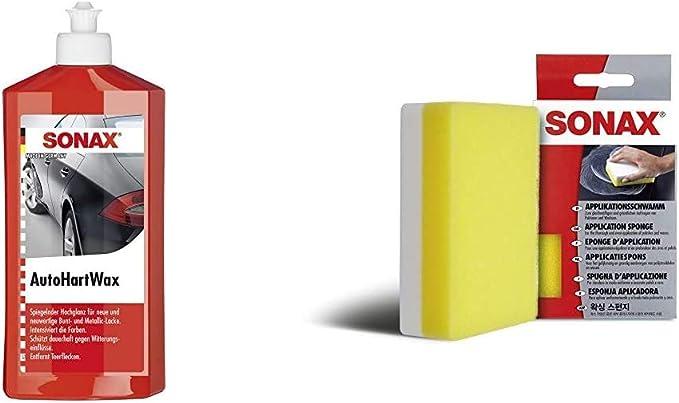 Sonax Autohartwax 500 Ml Flüssig Für Neue Und Neuwertige Bunt Und Metallic Lacke Applikationsschwamm 1 Stück Zum Auftragen Und Verarbeiten Von Polituren Wachsen Kunststoffpflegemitteln Auto