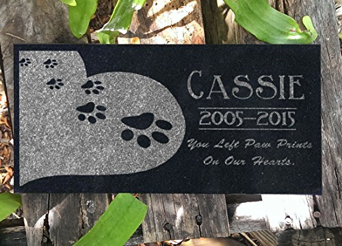Personalized Garden Markers (Heart Paws You Left Paw Prints on Our Hearts Pet Grave Markers Memorial Stones Personalized Headstone Absolute Black Granite Garden Plaque Engraved with Dog Cat Name Dates)