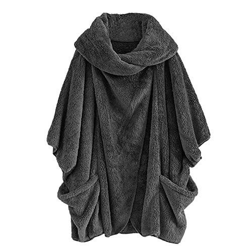 ANJUNIE Women Casual Solid Turtleneck Pullover with Big Pockets Cloak Coats Vintage Oversize Outwwear(Gray,XL)