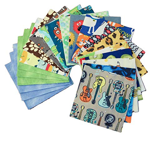 (Flannel Charm Pack - DIE Cut - Set of 40 - Baby Fabric - Charm Packs for Quilting - Precut Fabric (I Spy - Boys))