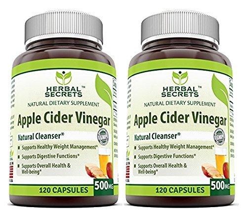 Herbal Secrets Apple Cider Vinegar 500mg 120 Capsules, 2 Pack - Herbal Calcium Capsule
