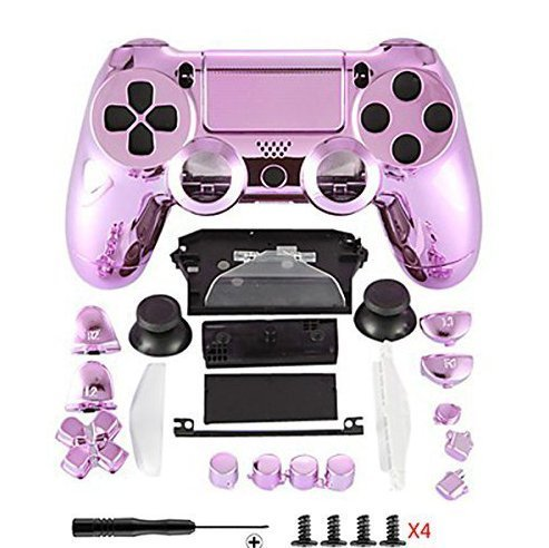 (Canamite Replacement Parts Full PS4 Controller Housing Shell Protective Case Cover Button Kit for PlayStation 4 DUALSHOCK 4 Controller (pink) )