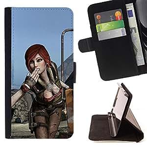 BullDog Case - FOR/HTC One M9 / - / Hot Gaming Girl Character Lilith B0Rderlands /- Monedero de cuero de la PU Llevar cubierta de la caja con el ID Credit Card Slots Flip funda de cuer
