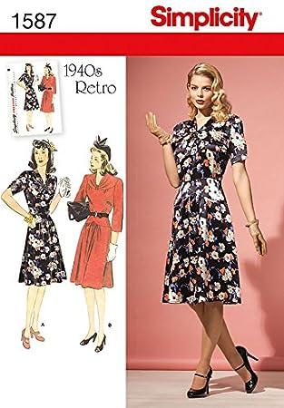 Simplicity Damen Schnittmuster 1587 Vintage Stil 1940 der Kleider ...