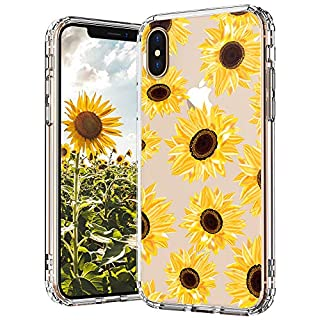 MOSNOVO iPhone X Case, iPhone Xs Case, Floral Flower Sunflower Pattern Clear Design Transparent Plastic Hard Back Case with TPU Bumper Protective Case Cover for iPhone X/iPhone Xs