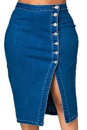 Falda de Mezclilla de Seguridad para Mujer, Cintura Alta, Falda de ...