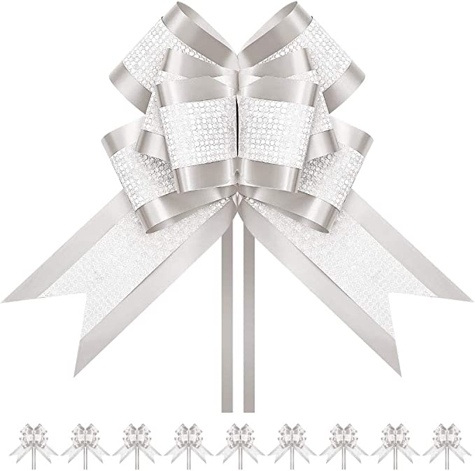 10 Pack Gold Eid Gift Wrapping Pull Bow Ribbons