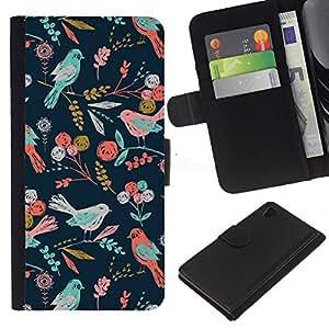 iBinBang / Flip Funda de Cuero Case Cover - Birds Pattern Floral Wallpaper - Sony Xperia Z4