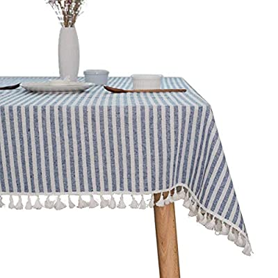 "ColorBird Stripe Tassel Tablecloth Cotton Linen Dust-Proof Table Cover for Kitchen Dinning Tabletop Decoration (Rectangle/Oblong, 55 x 86Inch, Blue) - DELICATE PRINTING - Featuring elegance stripe pattern on cotton linen fabric with beautiful tassel edge, adorn a dining table with this ColorBird modern tablecloth to start off a traditional tablescape, then dole out shimmery flatware and simplistic porcelain plates to make your meal time more luxurious DURABLE CONSTRUCTION - Manufactured from super, hard wearing 100% cotton linen fabric, with a seamless construction that won't easily fray after long term use; Tablecloth measures 55"" Width x 86"" Length (140 x 220 cm), includes tassel length, size deviation is between 1 to 2 inch. Fits tables that seat 6-8 people EASY TO CARE - Machine washable in low temperature or cold water, gentle cycle; Hand wash best; No bleaching; Tumble dry on low heat or lay flat to dry. Please avoid being outdoors in direct sunlight too long - tablecloths, kitchen-dining-room-table-linens, kitchen-dining-room - 510ZW0h4 sL. SS400  -"