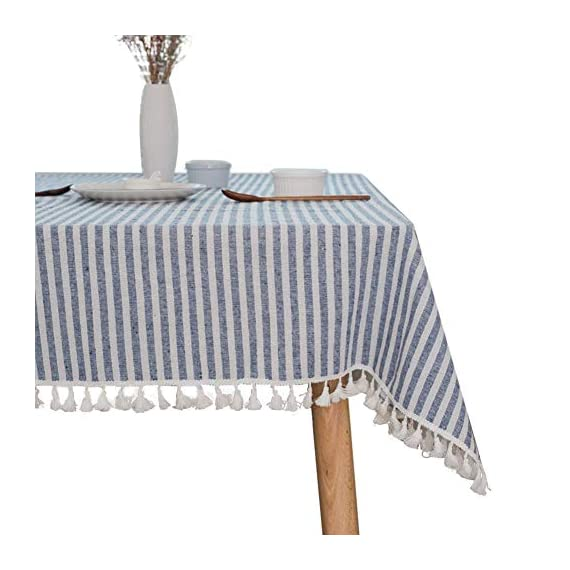"""ColorBird Stripe Tassel Tablecloth Cotton Linen Dust-Proof Table Cover for Kitchen Dinning Tabletop Decoration (Rectangle/Oblong, 55 x 86Inch, Blue) - DELICATE PRINTING - Featuring elegance stripe pattern on cotton linen fabric with beautiful tassel edge, adorn a dining table with this ColorBird modern tablecloth to start off a traditional tablescape, then dole out shimmery flatware and simplistic porcelain plates to make your meal time more luxurious DURABLE CONSTRUCTION - Manufactured from super, hard wearing 100% cotton linen fabric, with a seamless construction that won't easily fray after long term use; Tablecloth measures 55"""" Width x 86"""" Length (140 x 220 cm), includes tassel length, size deviation is between 1 to 2 inch. Fits tables that seat 6-8 people EASY TO CARE - Machine washable in low temperature or cold water, gentle cycle; Hand wash best; No bleaching; Tumble dry on low heat or lay flat to dry. Please avoid being outdoors in direct sunlight too long - tablecloths, kitchen-dining-room-table-linens, kitchen-dining-room - 510ZW0h4 sL. SS570  -"""