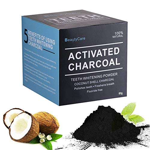 Activated Charcoal Teeth Whitening Powder 2.1 Oz - Organic Coconut Charcoal - Natural Gift Set