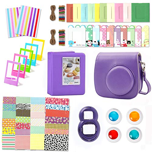 Leebotree Camera Accessories Compatible with Instax Mini 9 or Mini 8 8+ Include Case/Album/Selfie Lens/Filters/Wall Hang Frames/Film Frames/Border Stickers/Corner Stickers (Purple)