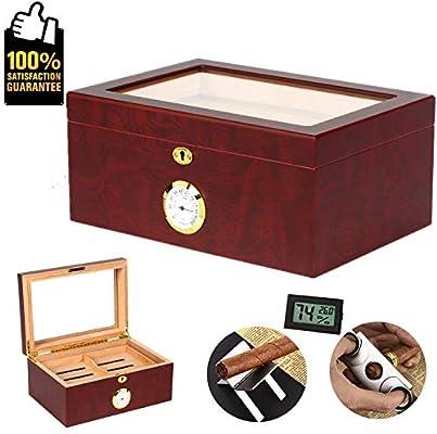 Cigar Humidor Cedar Wood Box Hygrometer Humidifier Case Tempered Glass Desktop
