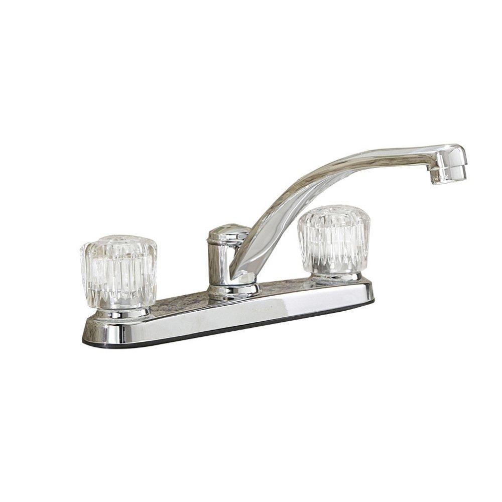 Project Source Chrome 2-Handle Low-Arc Kitchen Faucet #199546 ...
