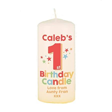 Colourful 1st Birthday Customised Pillar Candle Gifts For A One Year Old
