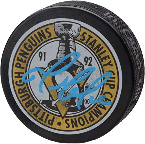 (Mario Lemieux Pittsburgh Penguins Autographed 1992 Stanley Cup Champions Logo Hockey Puck - Fanatics Authentic Certified )