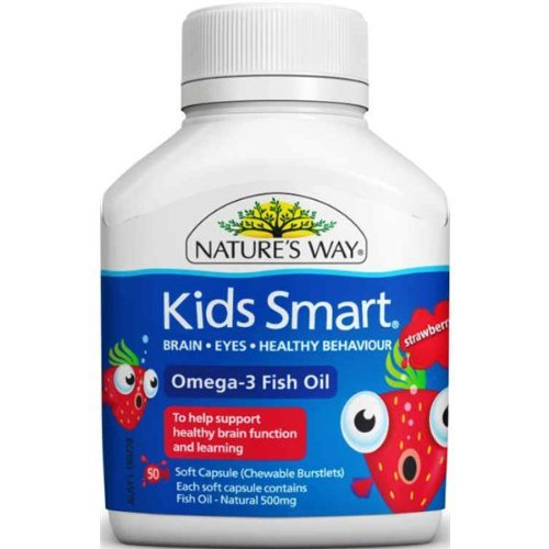 Nature 39 s way kids smart omega 3 strawberry chewable 50 cap for Chewable fish oil