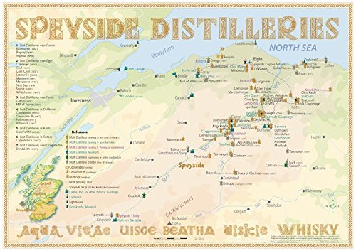 Whisky Distilleries Speyside   Tasting Map 34x24cm  The Whisky Landscape In Overview