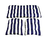 3 Piece Wicker Cushion Set - Navy Blue and White Stripe Indoor / Outdoor Fabric Cushion for Wicker Loveseat Settee & 2 Matching Chair Cushions