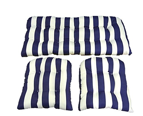 - 3 Piece Wicker Cushion Set - Navy Blue and White Stripe Indoor / Outdoor Fabric Cushion for Wicker Loveseat Settee & 2 Matching Chair Cushions
