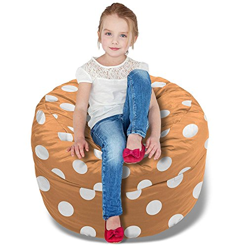 BeanBob Bean Bag Chair (Orange w/Polka Dot), 2.5ft - Bedroom Sitting Sack for Kids w/Super Soft Foam Filling