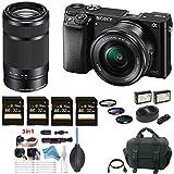 Sony Alpha a6000 Mirrorless Camera w/ 16-50mm & 55-210mm Lens & Four 32GB SD Cards + Free DigitalAndMore Accessory Bundle