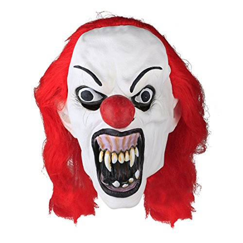 MISHIN Latex Halloween Mask Red Wig Clown Costumes Adult Masquerade Party Dress Up Prop (Haunted House Prop Ideas)
