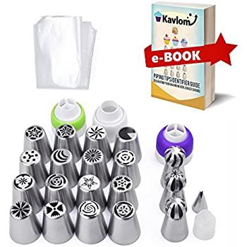 RUSSIAN PIPING TIPS: for Flower Frosting Decorating + 4 Couplers | ALL-IN-ONE 50 PC Cake Decorating Tips Set | 16 Russian Nozzles,3 Ball Tips,1 Leaf Tip,30 Pastry Bags w/ Guide (Baking Decorating Kit)