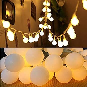 16 Feet 50 LED Globe Fairy Lights, Battery Operated Globe String Lights Starry Lights for Home Party Birthday Garden Festival Wedding Xmas Indoor Outdoor Use by FANSIR(Warm White)