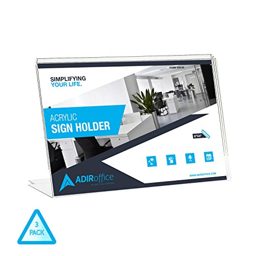 AdirOffice Slant-Back Photo-Sign Holder Ad Frame – Side Insert – Clear Acrylic (3 Pack, 6x4 Landscape)