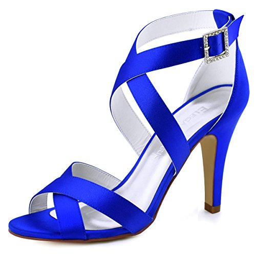 ElegantPark HP1705 Women High Heel Shoes Open Toe Cross Strap Satin Wedding Dress Sandals Blue US 9