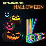 "Glow Sticks Bulk Party Favors 200pk - 8"" Glow in The Dark Party Supplies Light Sticks, Halloween, Camping, Glow Necklaces Bracelets Kids"