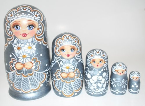 Authentic Unique Russian Hand Painted Handmade Russian Silver Nesting Dolls Set of 5 Pcs Matryoshkas 5'' Artist Signed by Gabriella's Gifts (Image #5)