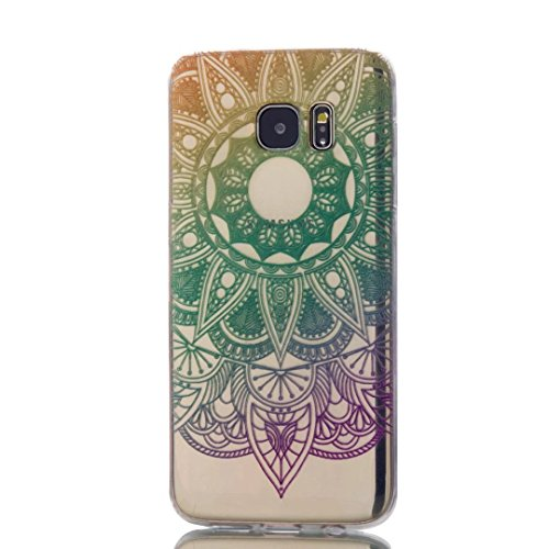 KSHOP Accessory for Samsung Galaxy S7 Edge Case Cover Bumper Shell Soft TPU Silicone Transparent Clear Ultra Slim Skin Shell Anti-scratch Protective Bumper-Green Sunflower